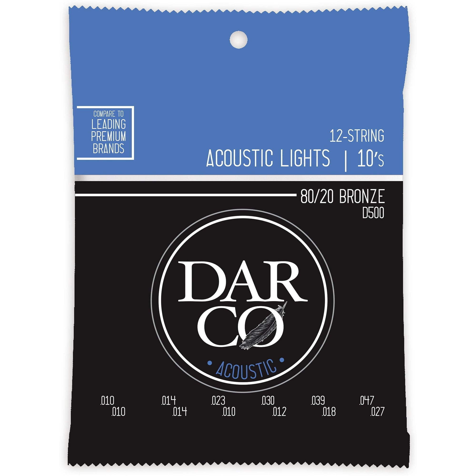 Darco 80/20 Bronze 12-String Acoustic Guitar Strings, D500, Extra Light