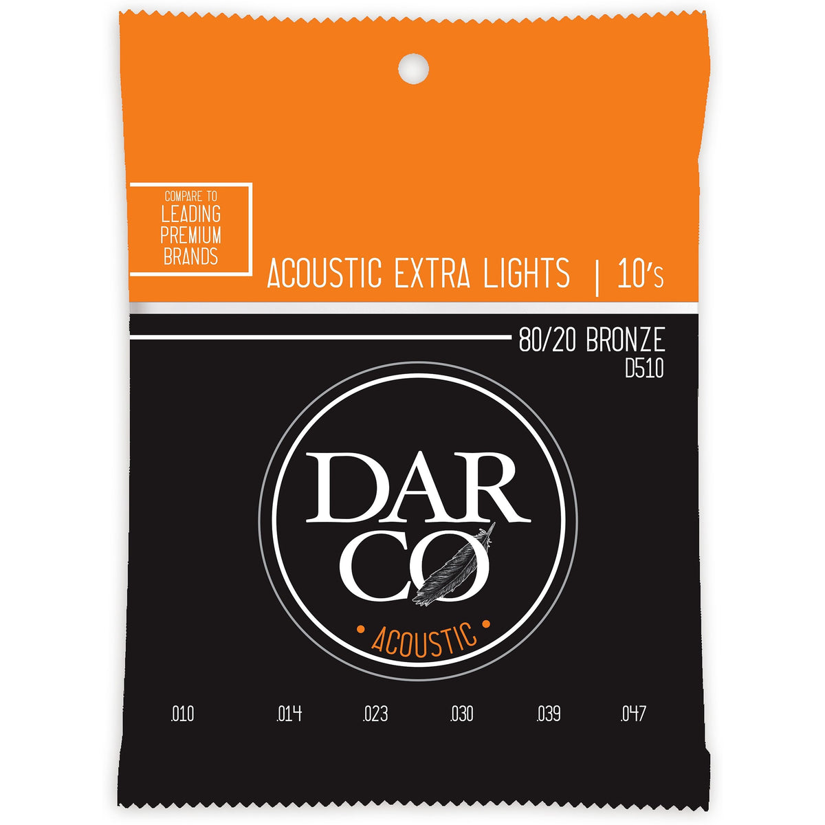 Darco 80/20 Bronze Acoustic Guitar Strings, D510, Extra Light