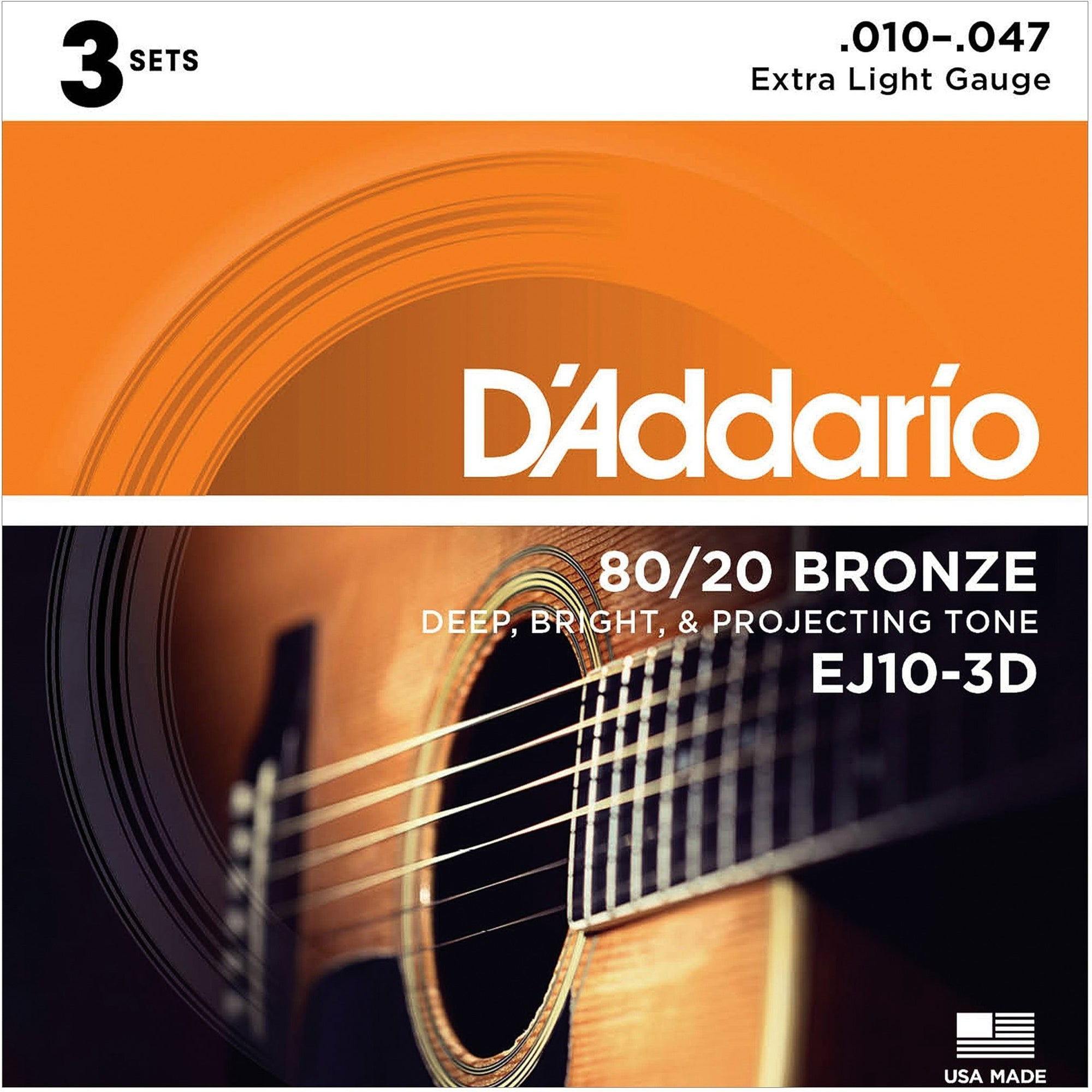 D'Addario 80/20 Bronze Acoustic Guitar Strings, EJ10, Extra Light, 3-Pack, 17441