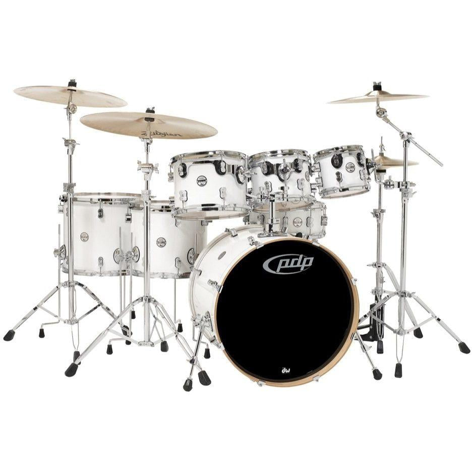 Pacific Drums Concept Maple Drum Shell Kit, 7-Piece, Pearl White, with Pacific Drum 800 Series Hardware