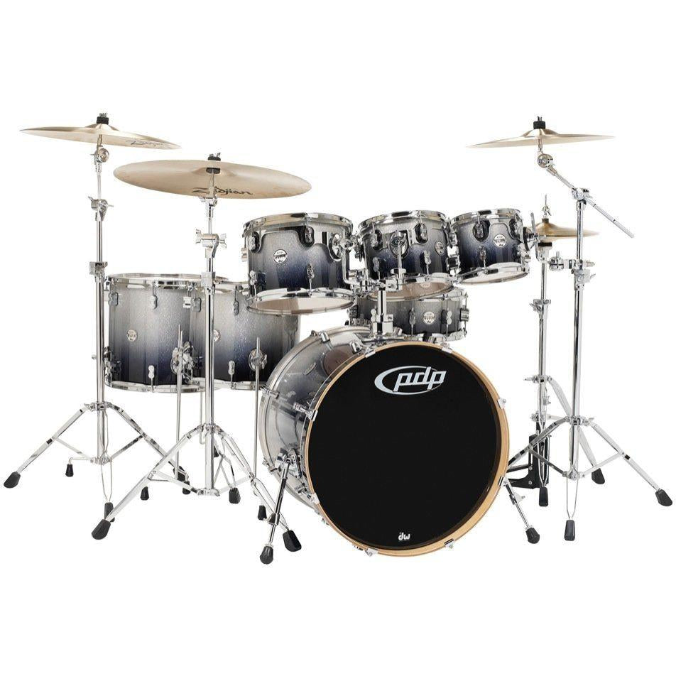 Pacific Drums Concept Maple Drum Shell Kit, 7-Piece, Silver to Black Sparkle Fade, with Pacific Drum 800 Series Hardware
