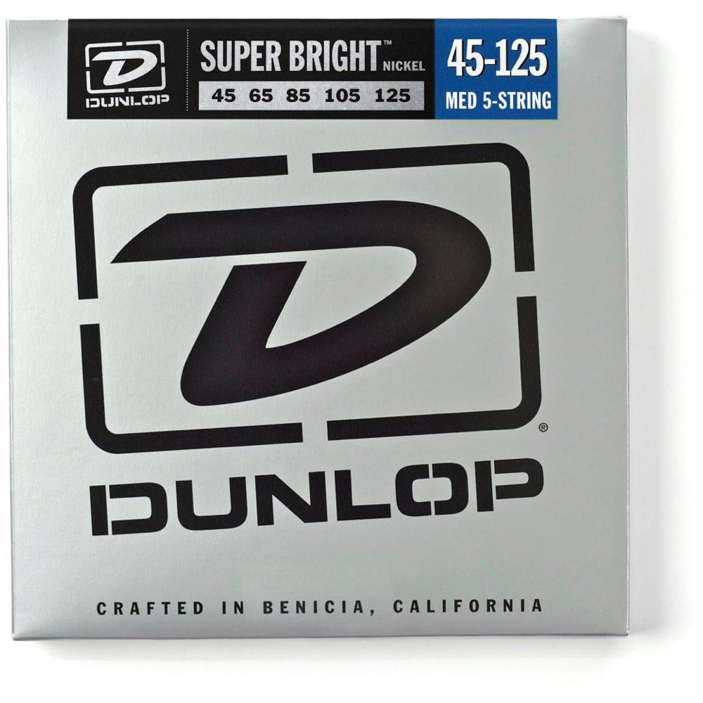 Dunlop Super Bright Nickel 5-String Electric Bass Strings, Medium, 45-125