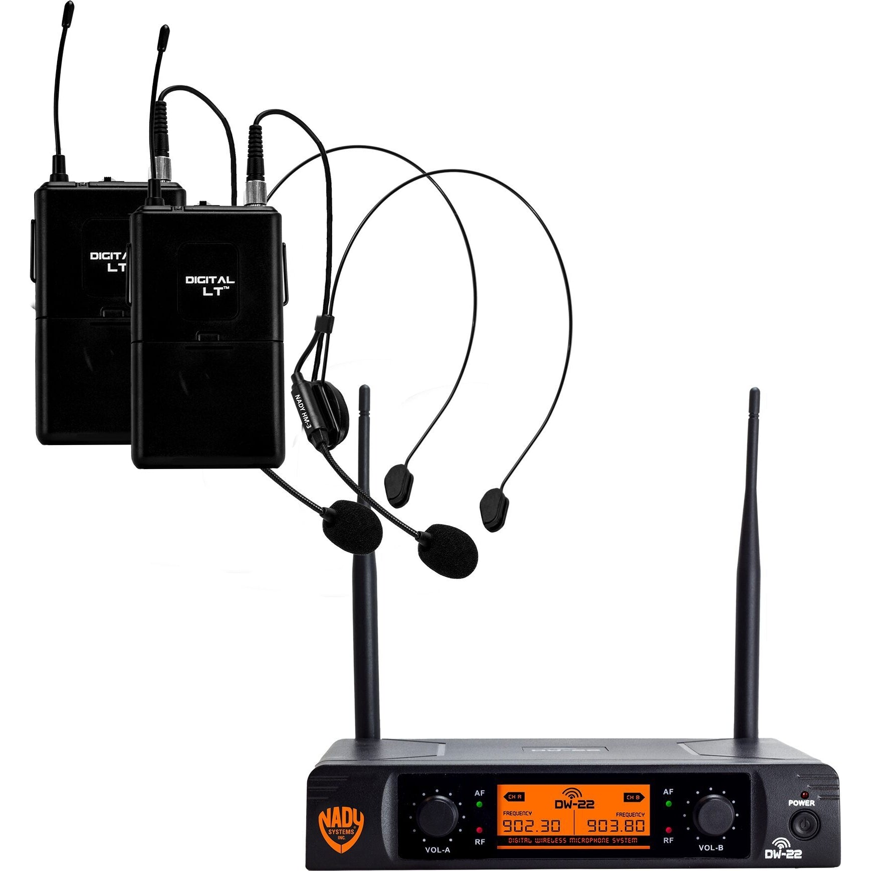 Nady DW-22 Dual Transmitter Digital Wireless Headset Microphone System, Channel D13/D14