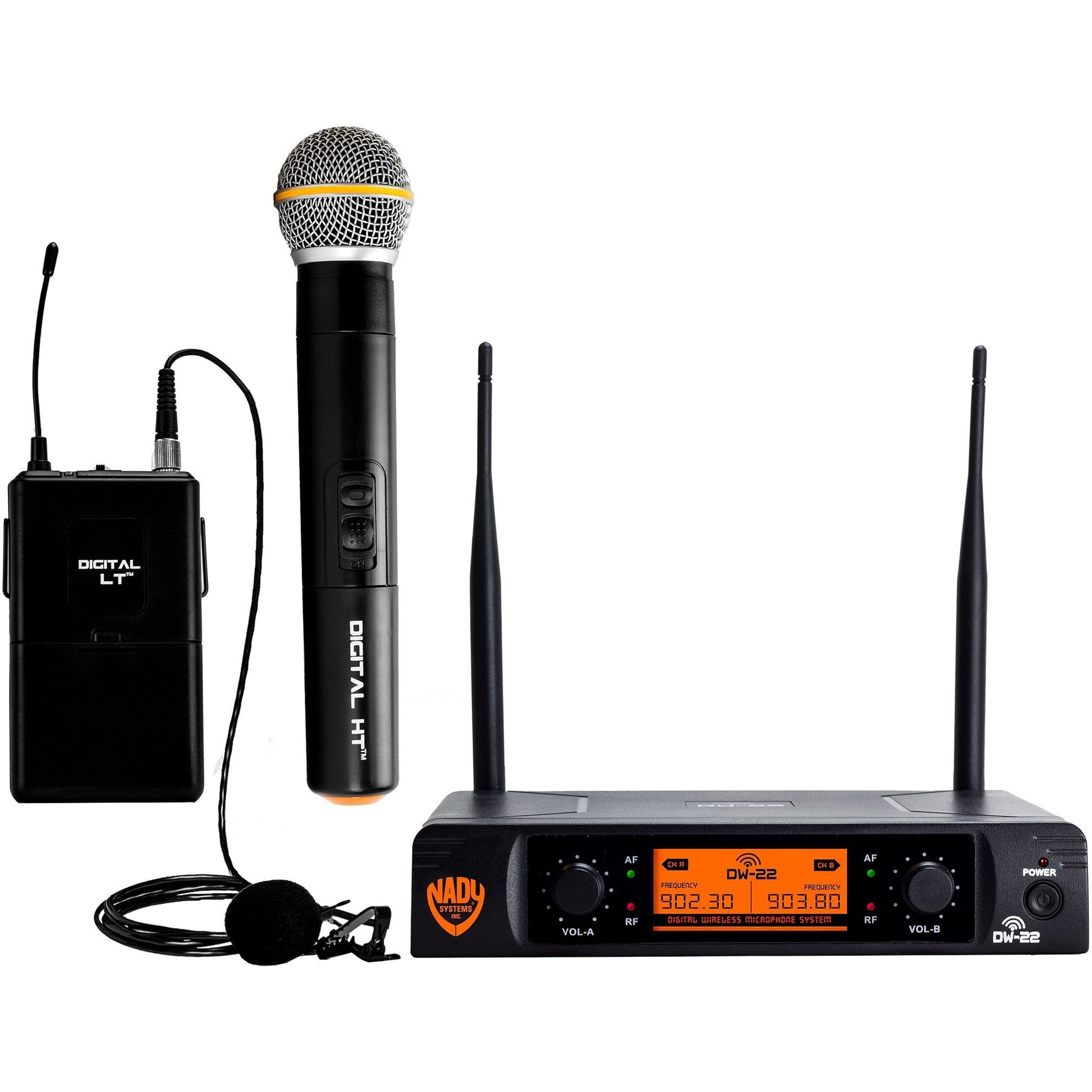 Nady DW-22 Dual Transmitter Digital Wireless Handheld and Lavalier Microphone Combination System, Channel D-15 and D-16