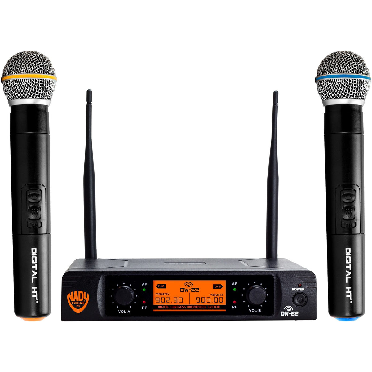 Nady DW-22 Dual Transmitter Digital Wireless Vocal Microphone System, Channel D-13 and D-14