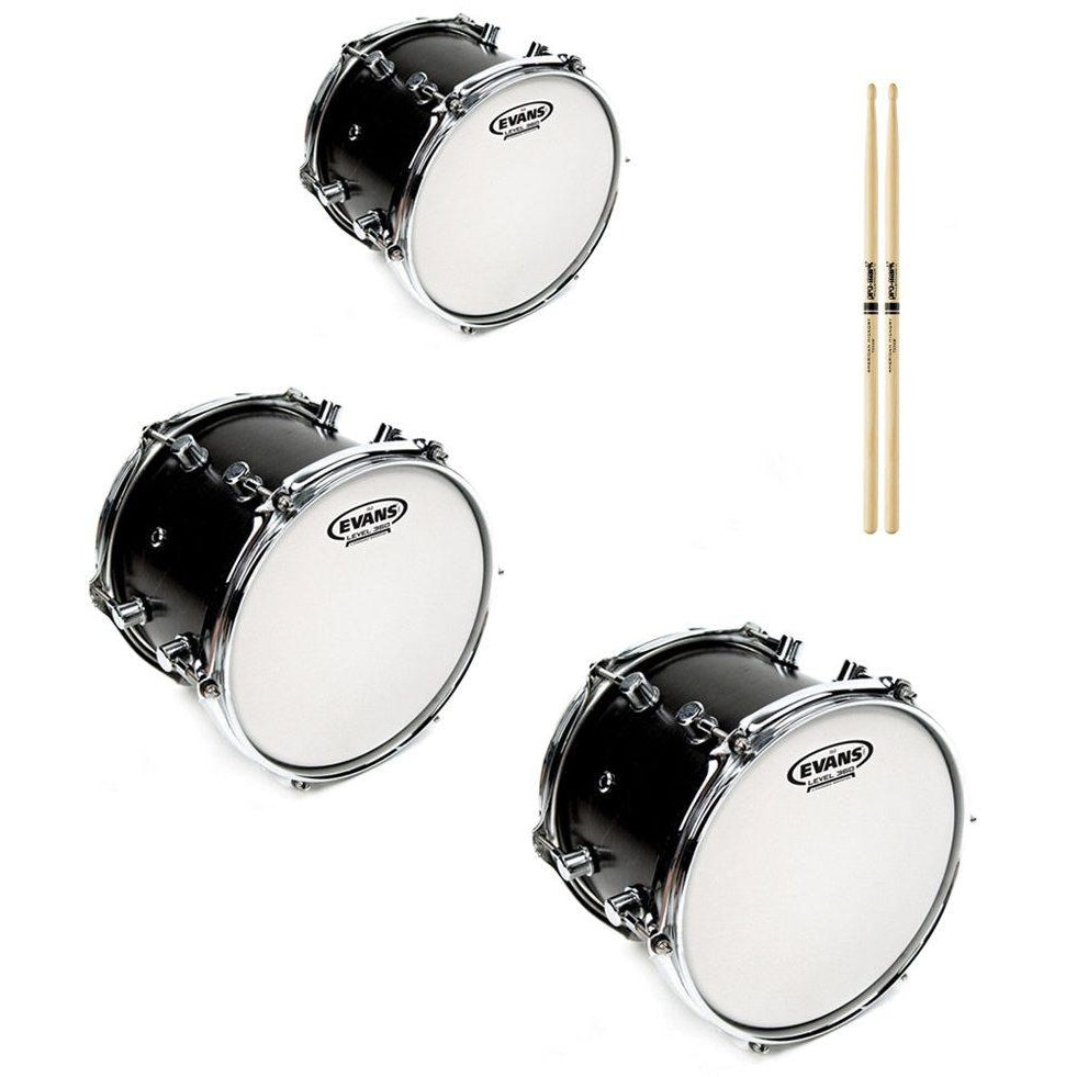 Evans Genera G2 Coated Drumhead, Fusion Tom Pack with Drumstick Pair, 10, 12, 14 Inch