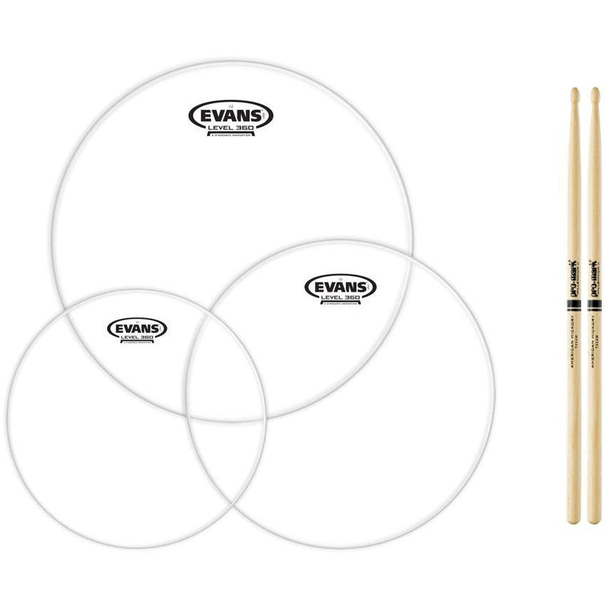 Evans Genera G2 Clear Drumhead Tom Pack, Standard, with Drumstick Pair, 12, 13, and 16 Inch