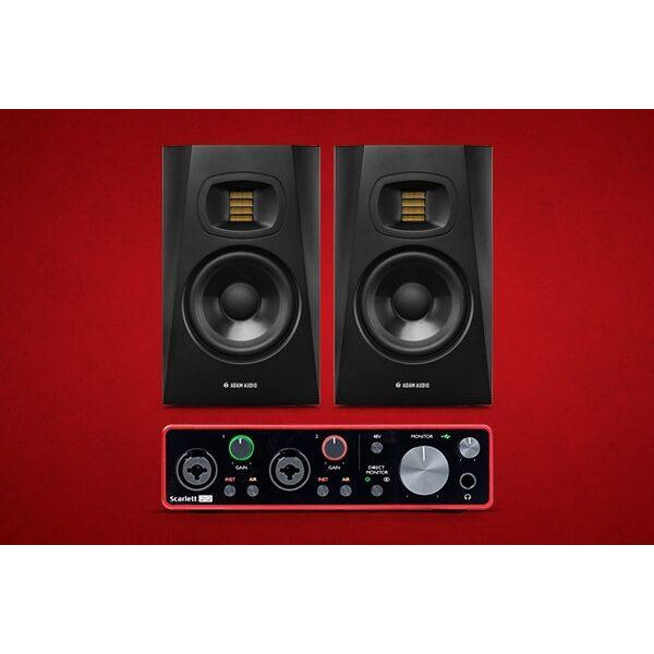 Focusrite Scarlett 2i2 3rd Gen USB Audio Interface, with Adam T5V Studio Monitors Pair
