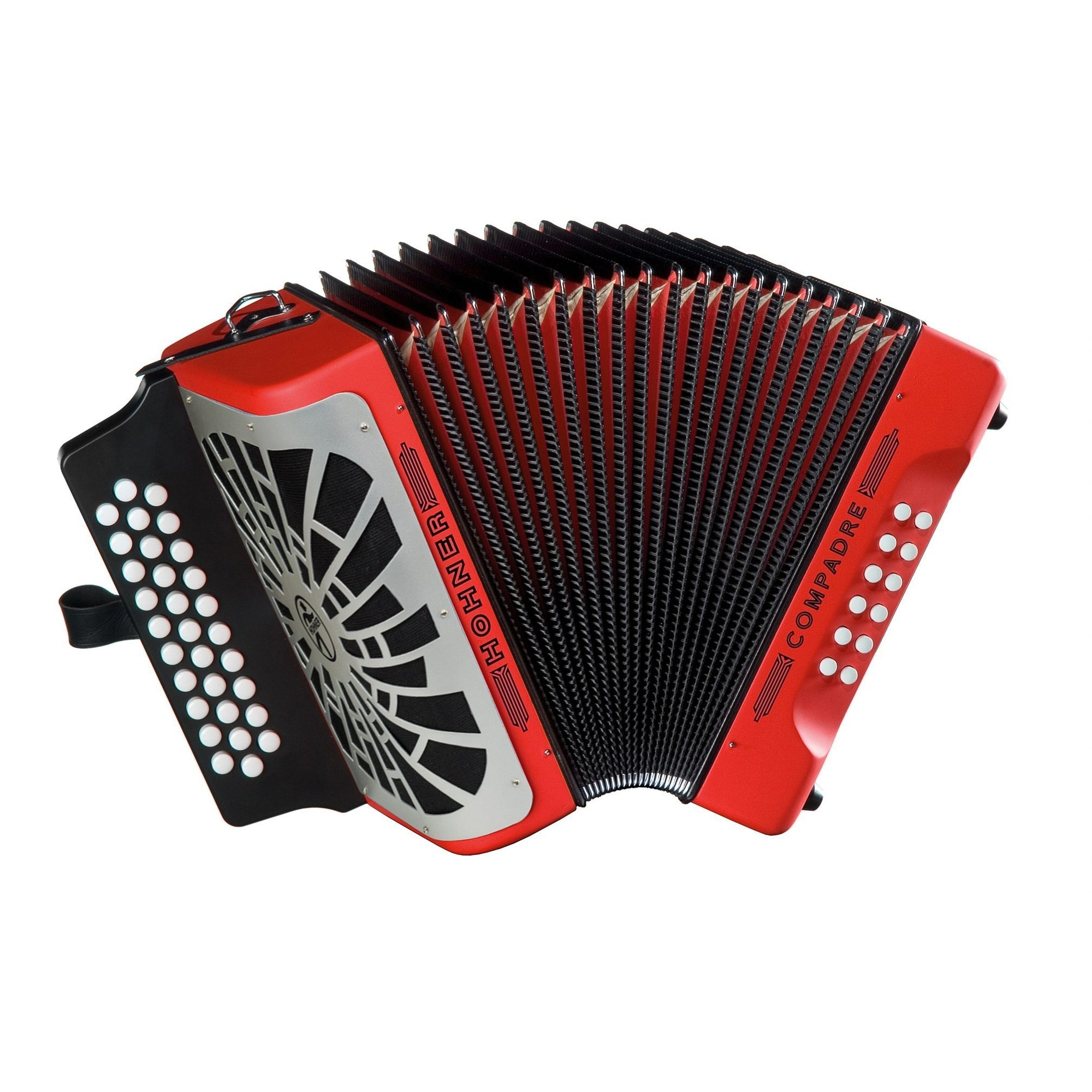Hohner Compadre Accordion (with Gig Bag), Red, F/Bb/Eb, with Gig Bag