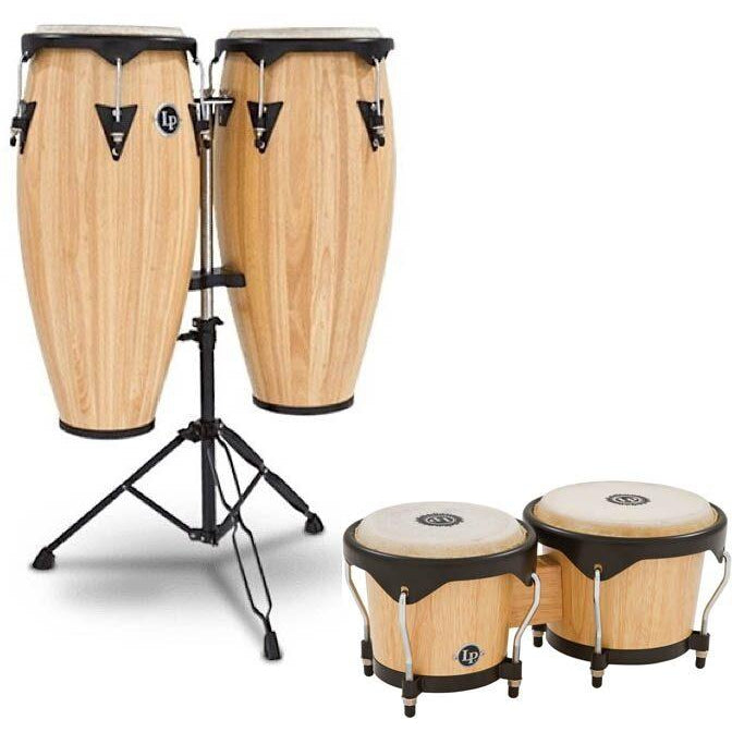 Latin Percussion 646 City Series Congas, Natural, with Bongo and Mount Package, 10 Inch and 11 Inch