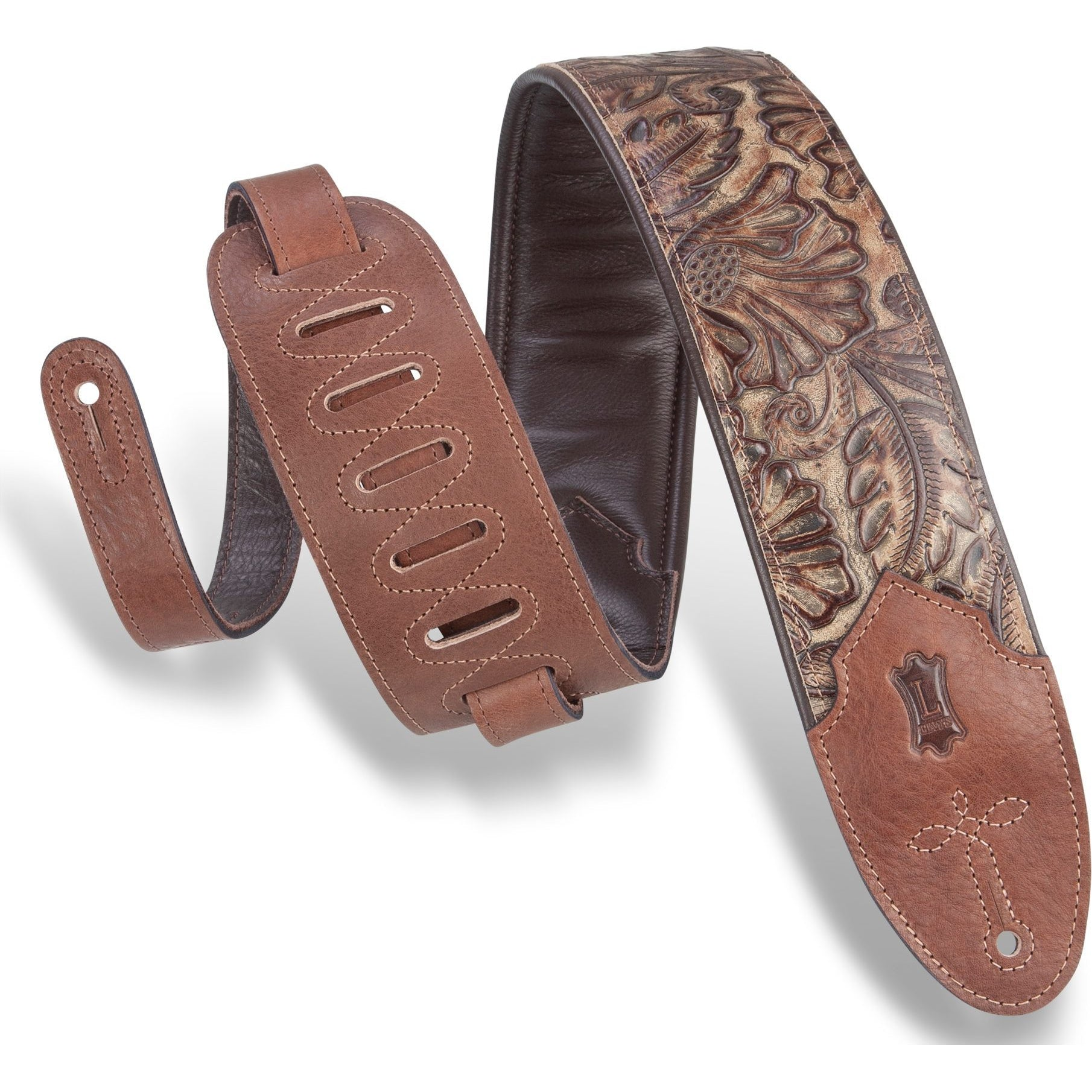 Levy's 3 Inch Wide Embossed Leather Guitar Strap, Palm Pecan, M4WP-002