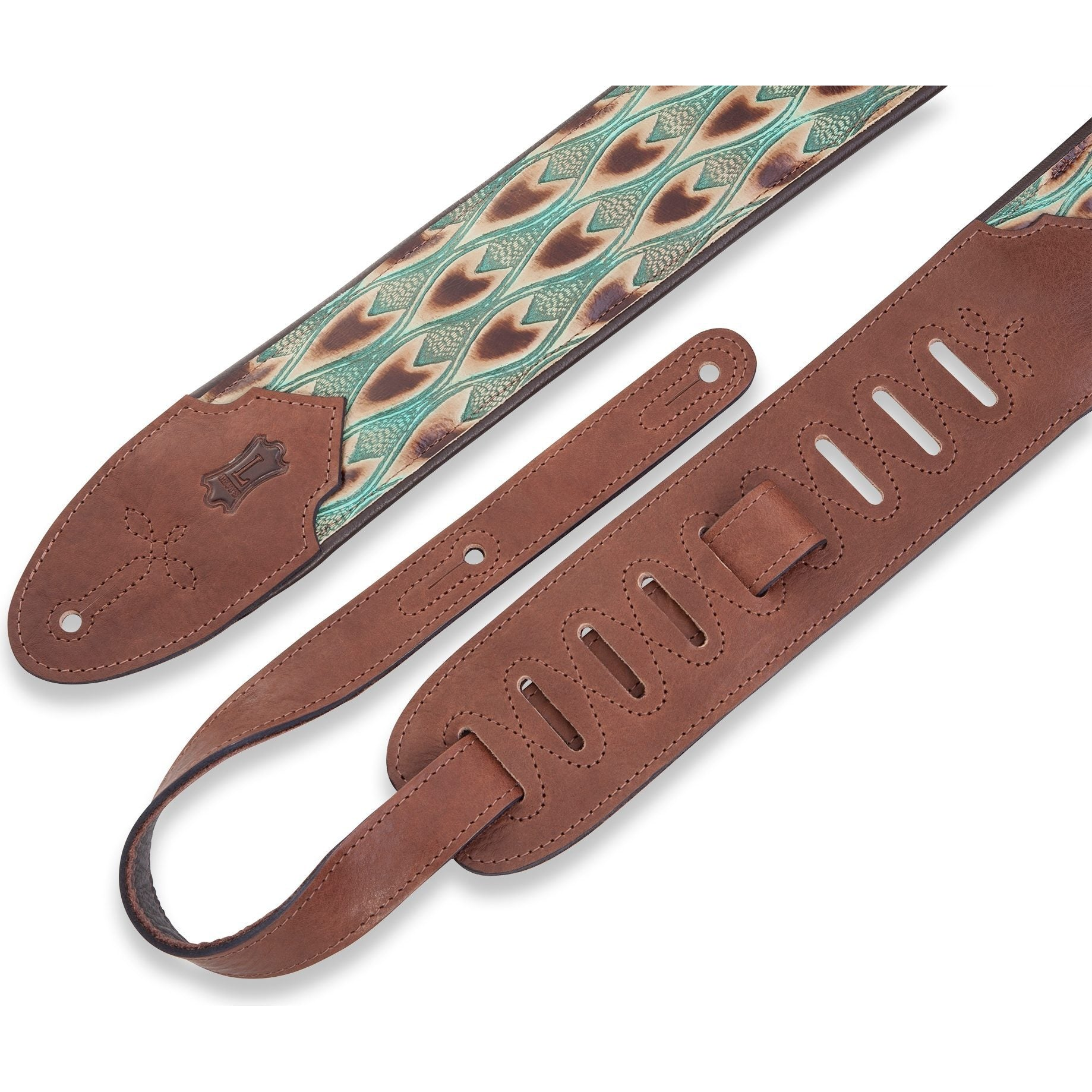 Levy's 3 Inch Wide Embossed Leather Guitar Strap, Arrowhead Turquoise, M4WP-004