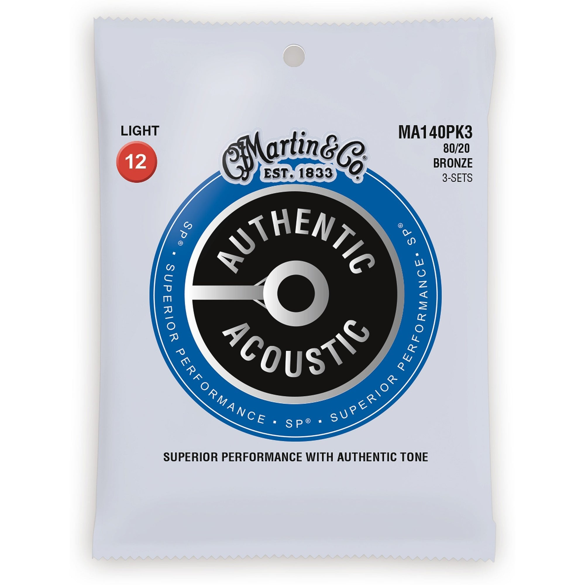 Martin Authentic SP 80/20 Bronze Acoustic Guitar Strings, MA140, 3-Pack, Light