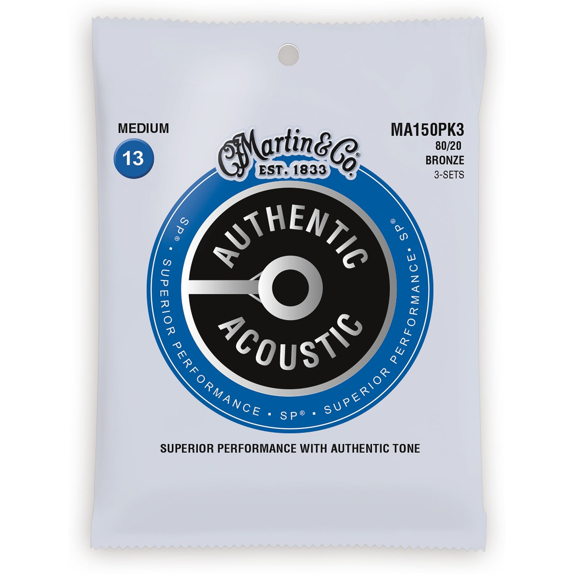 Martin Authentic SP 80/20 Bronze Acoustic Guitar Strings, MA150, 3-Pack, Medium
