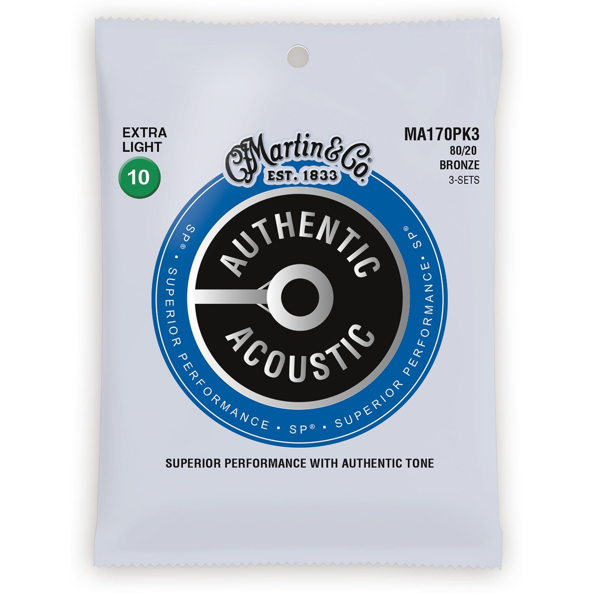 Martin Authentic SP 80/20 Bronze Acoustic Guitar Strings, MA170, 3-Pack, Extra Light
