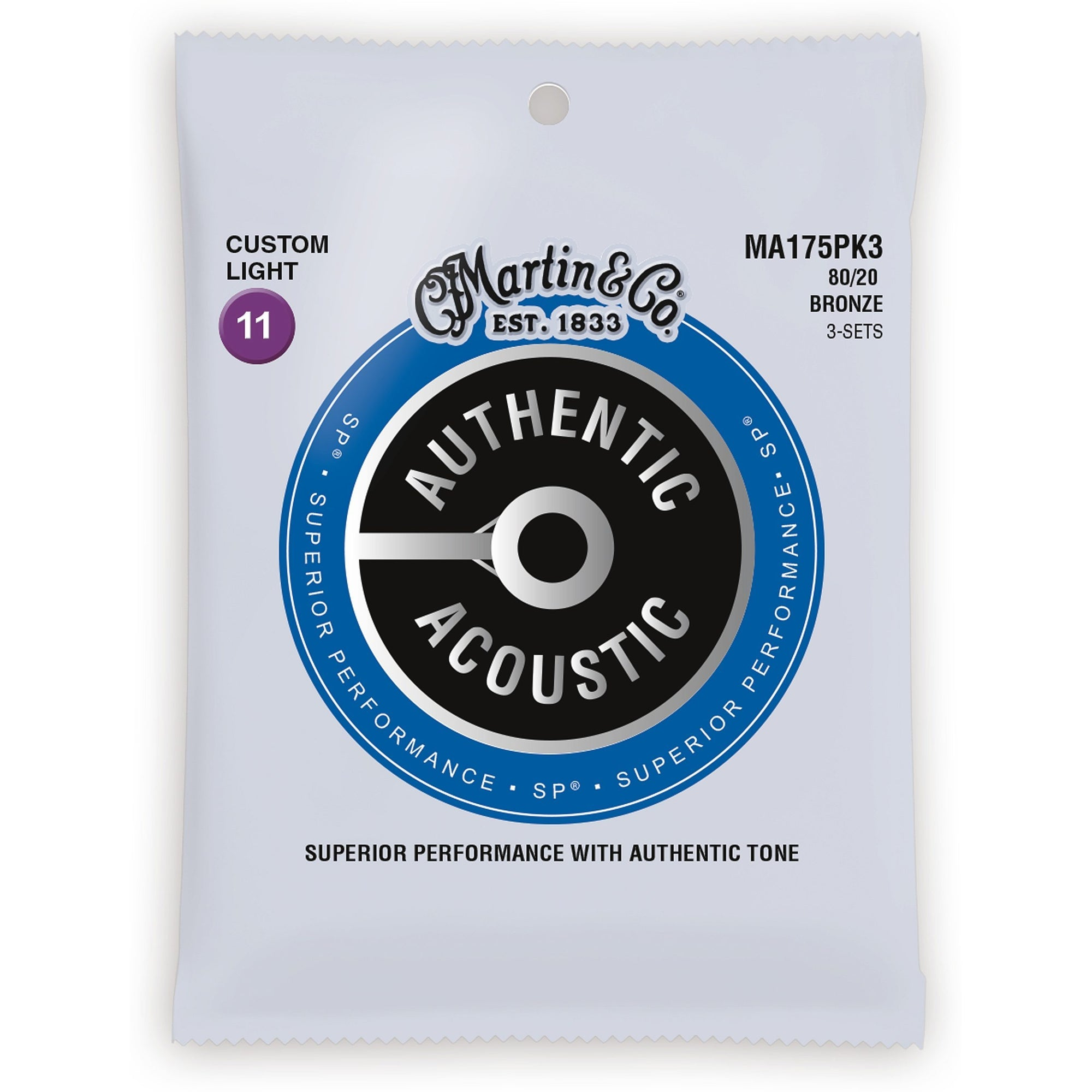 Martin Authentic SP 80/20 Bronze Acoustic Guitar Strings, MA175, 3-Pack, Custom Light