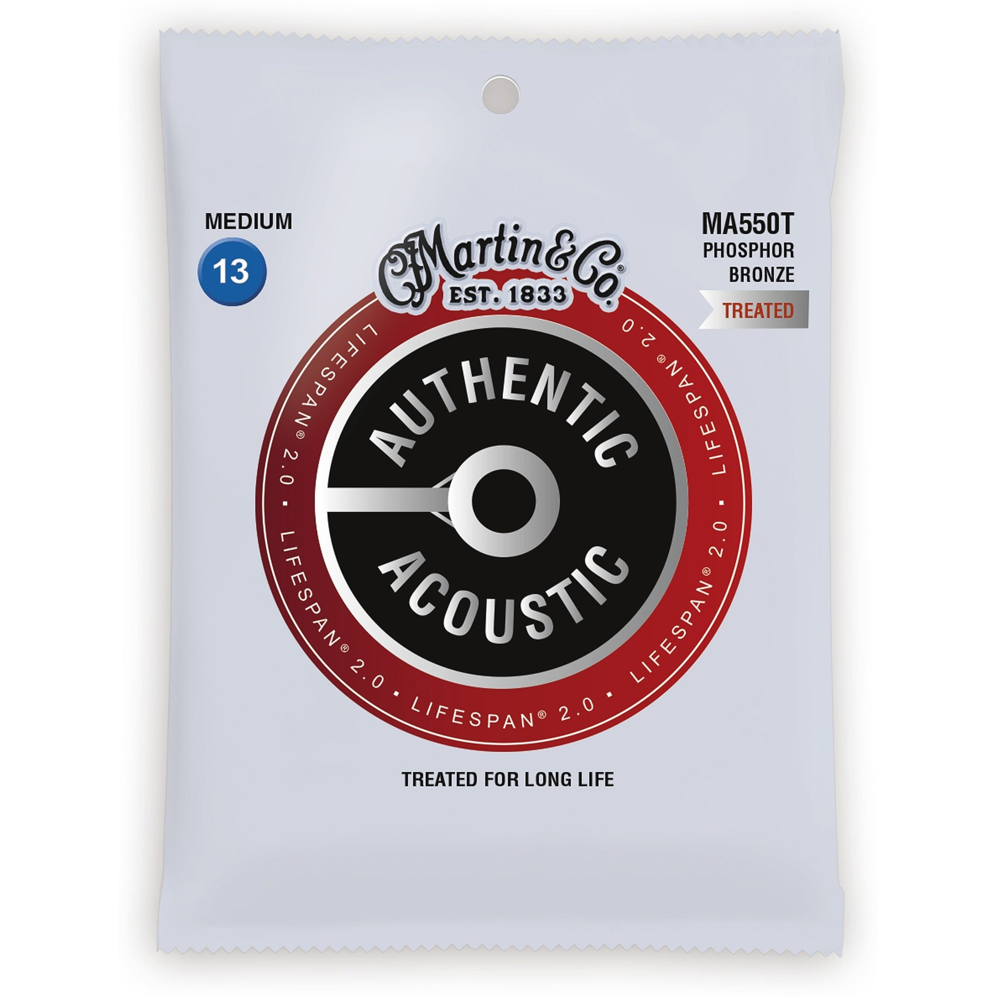 Martin Authentic Lifespan 2.0 Treated Phosphor Bronze Acoustic Guitar Strings, MA550T, Medium