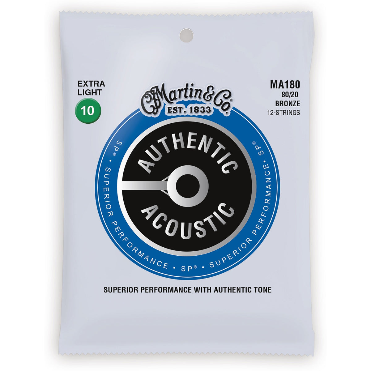 Martin Authentic SP 80/20 Bronze 12-String Acoustic Guitar Strings, MA180, Extra Light