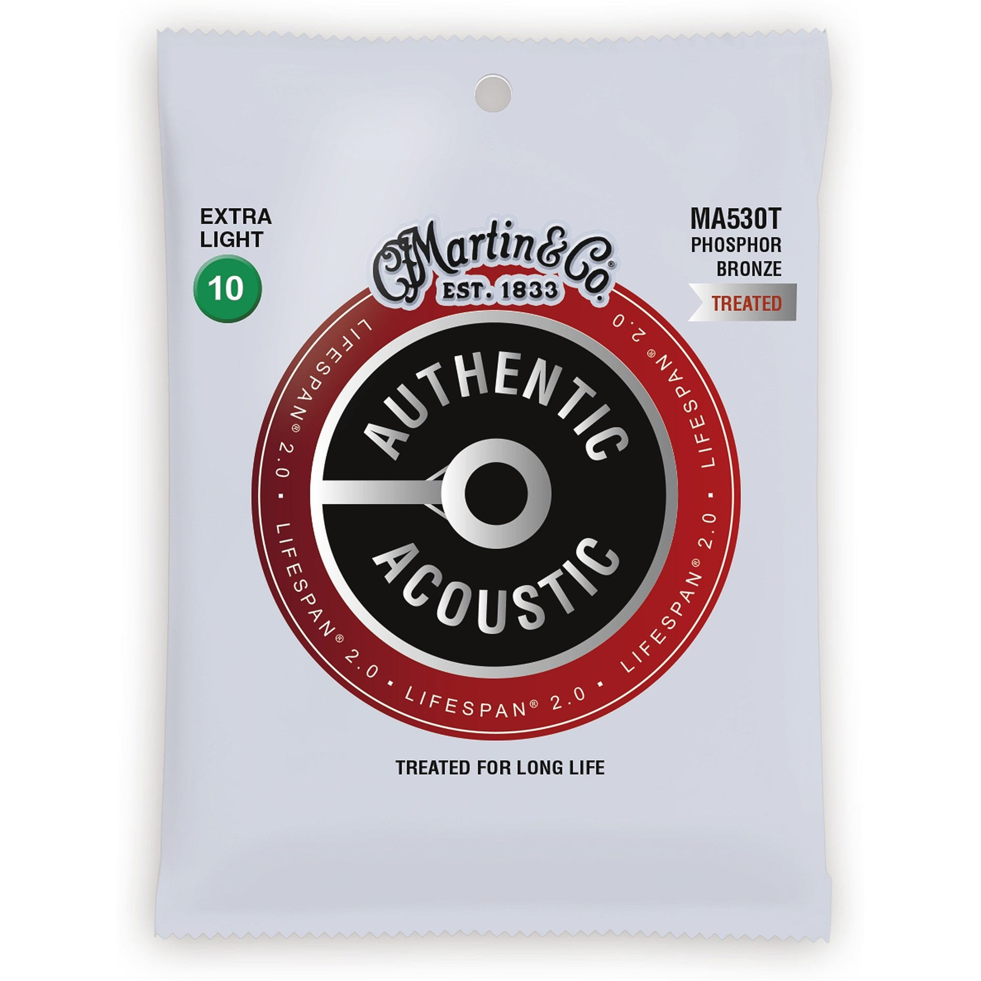 Martin Authentic Lifespan 2.0 Treated Phosphor Bronze Acoustic Guitar Strings, MA530T, Extra Light