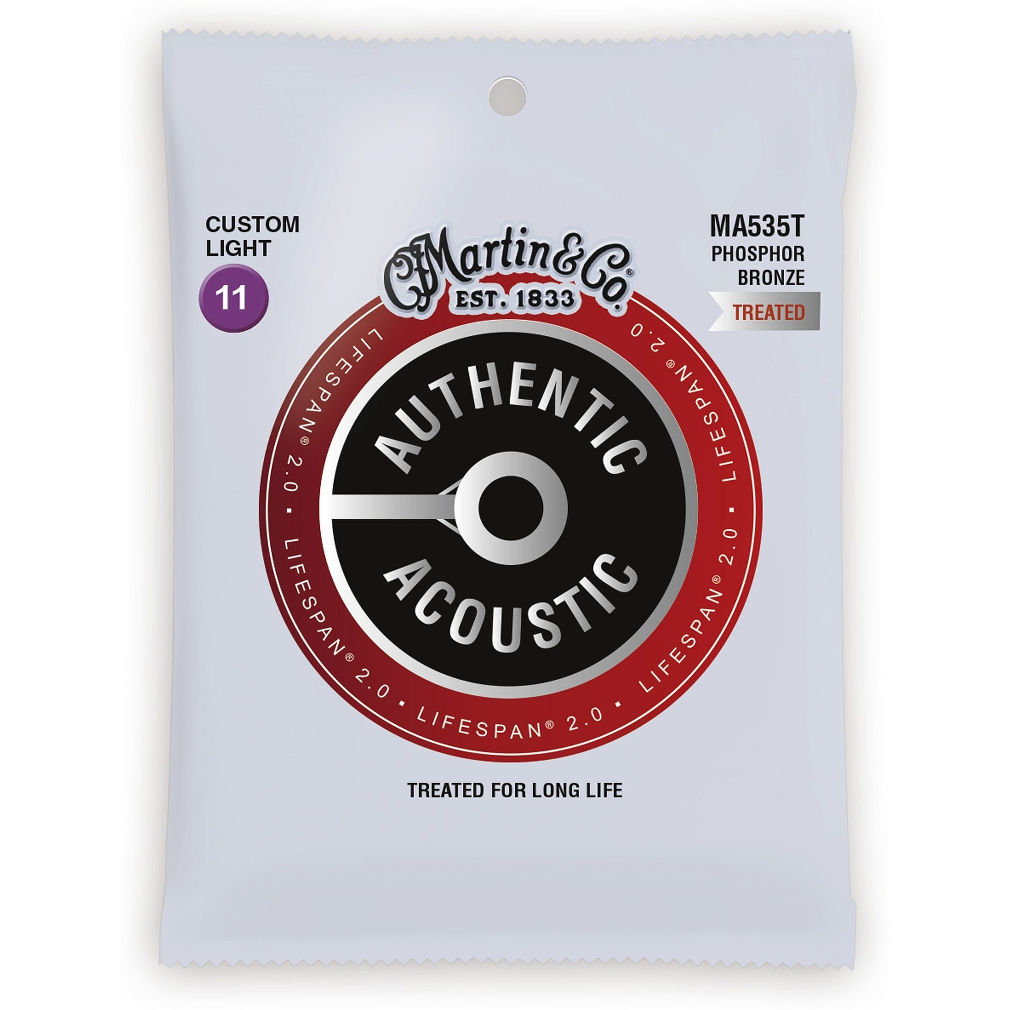 Martin Authentic Lifespan 2.0 Treated Phosphor Bronze Acoustic Guitar Strings, MA535T, Custom Light