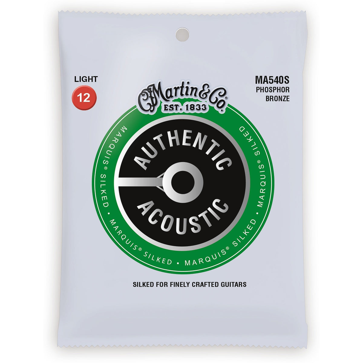 Martin Authentic Marquis Silked Phosphor Bronze Acoustic Guitar Strings, MA540S, Light