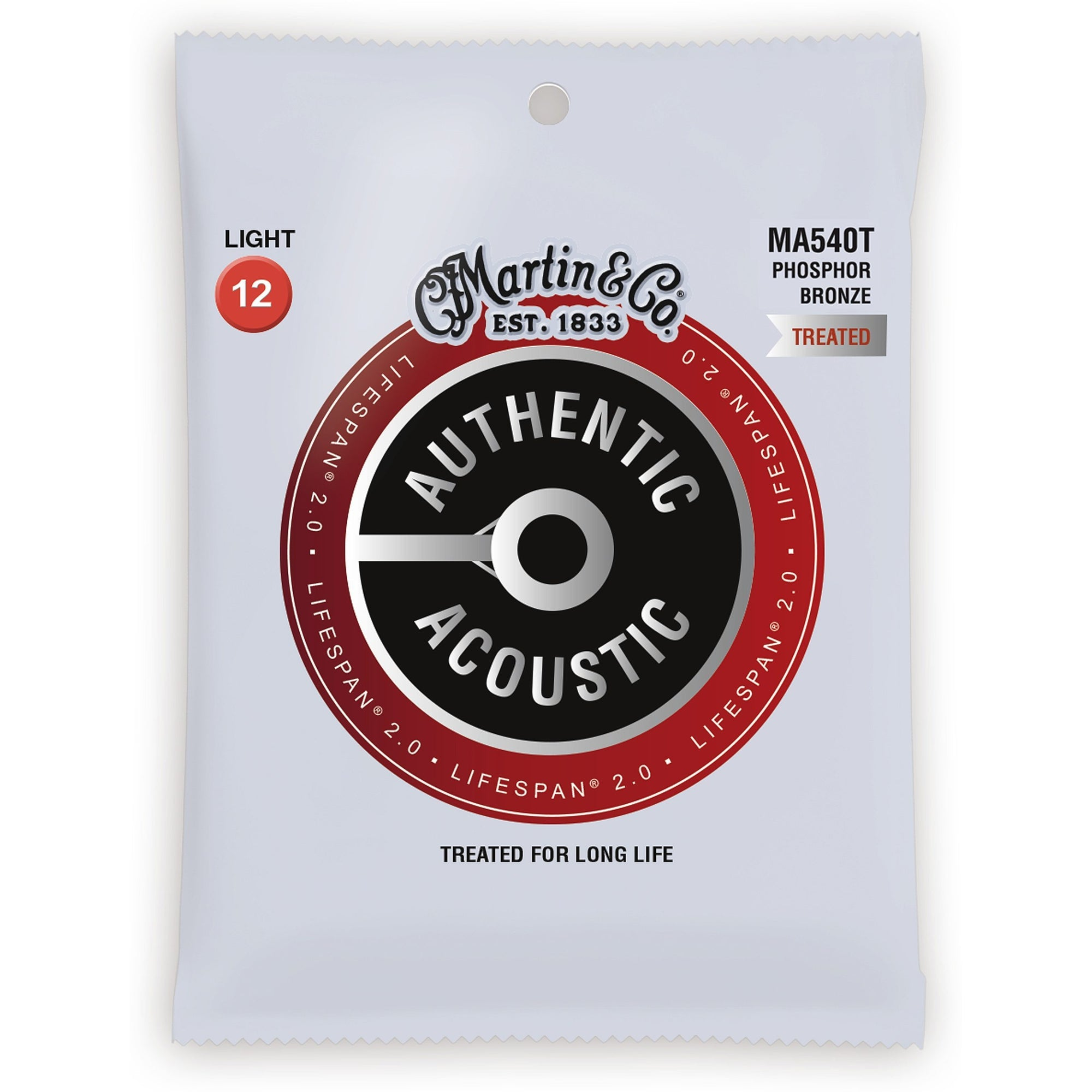 Martin Authentic Lifespan 2.0 Treated Phosphor Bronze Acoustic Guitar Strings, MA540T, Light