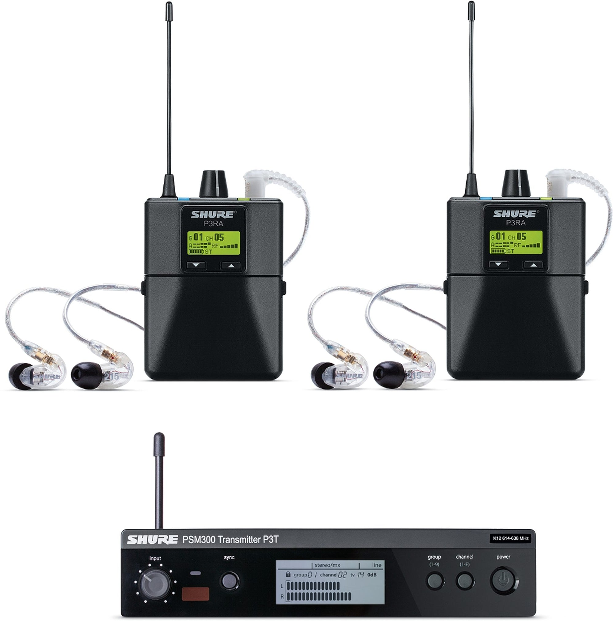 Shure PSM 300 Twin Pack PRO Wireless In-Ear Monitor IEM System with SE215 Earphones, Band G20 (488.150 - 511.850 MHz)
