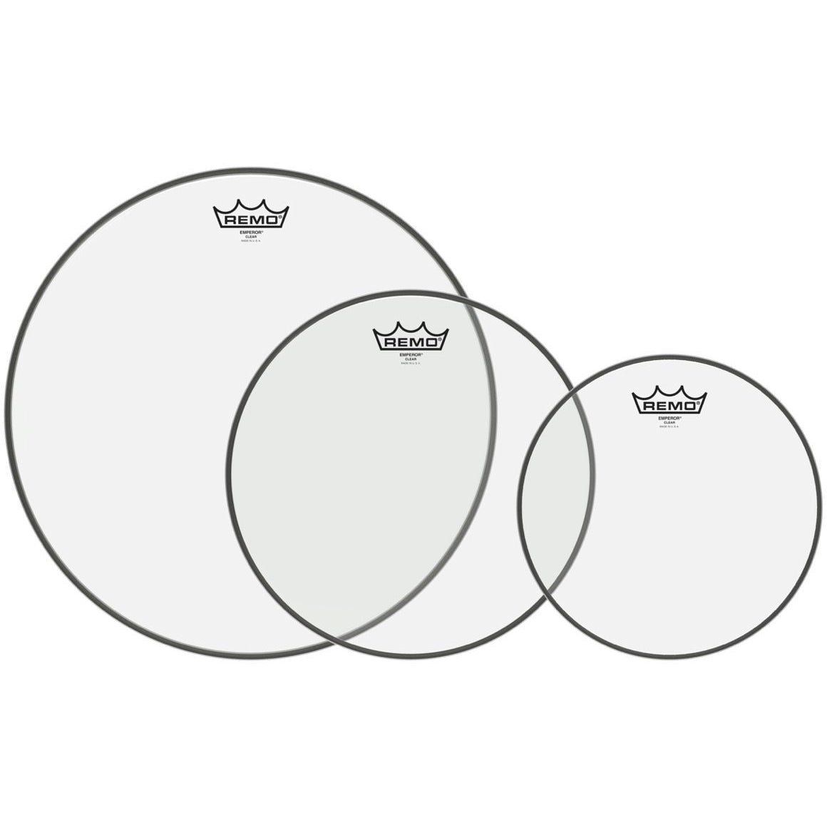 Remo Clear Emperor Tom Drumhead Pack, Pack 3, 10, 12, and 16 Inch