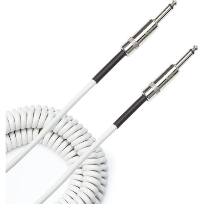 D'Addario Custom Series Coiled Instrument Cable, White, PW-CDG-30WH, 30'
