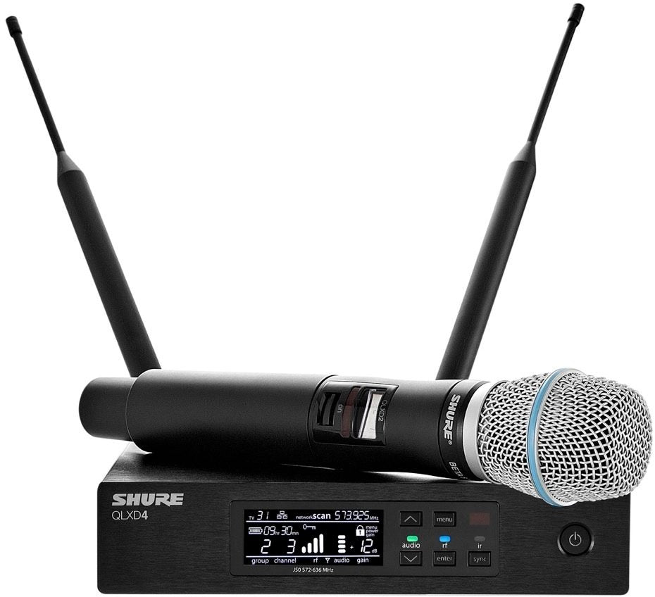 Shure QLXD24/B87A Wireless System with Beta 87a Handheld Microphone Transmitter, Band G50 (470 - 534 MHz)