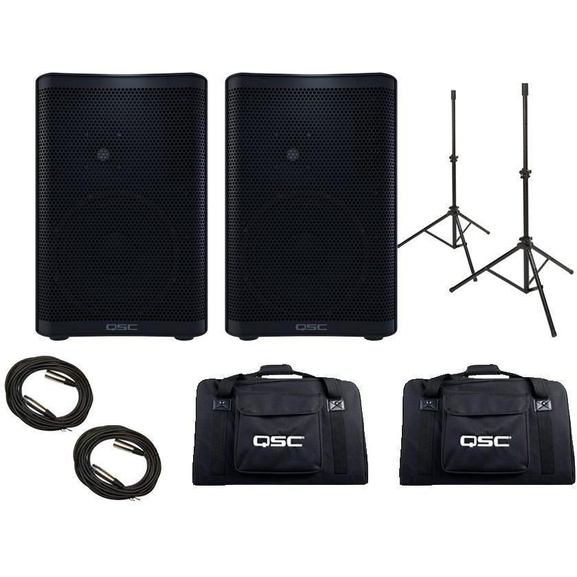 QSC CP8 Compact Powered Loudspeaker, Pair, with Bags, Stands & Cables