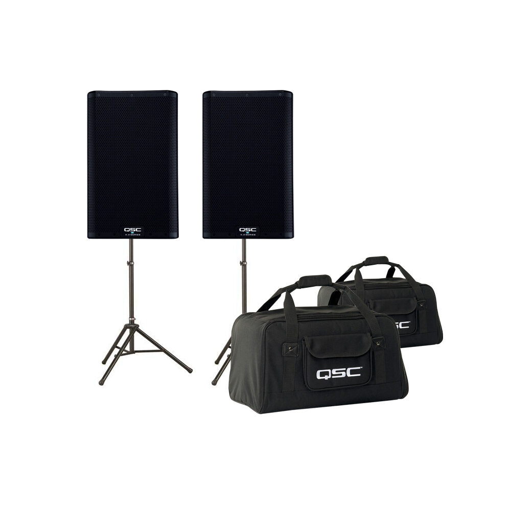 QSC K8.2 Powered Loudspeaker (2000 Watts, 1x8 Inch), Pair, with Speaker Pack