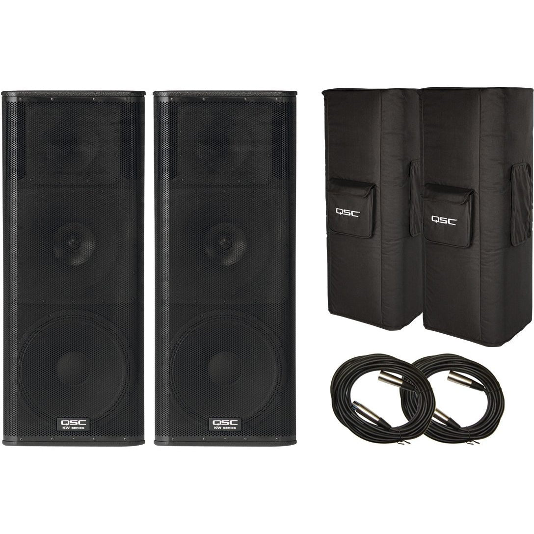 QSC KW153 3-Way Powered Loudspeaker (1000 Watts, 1x15 Inch), Pair, with Speaker Pack