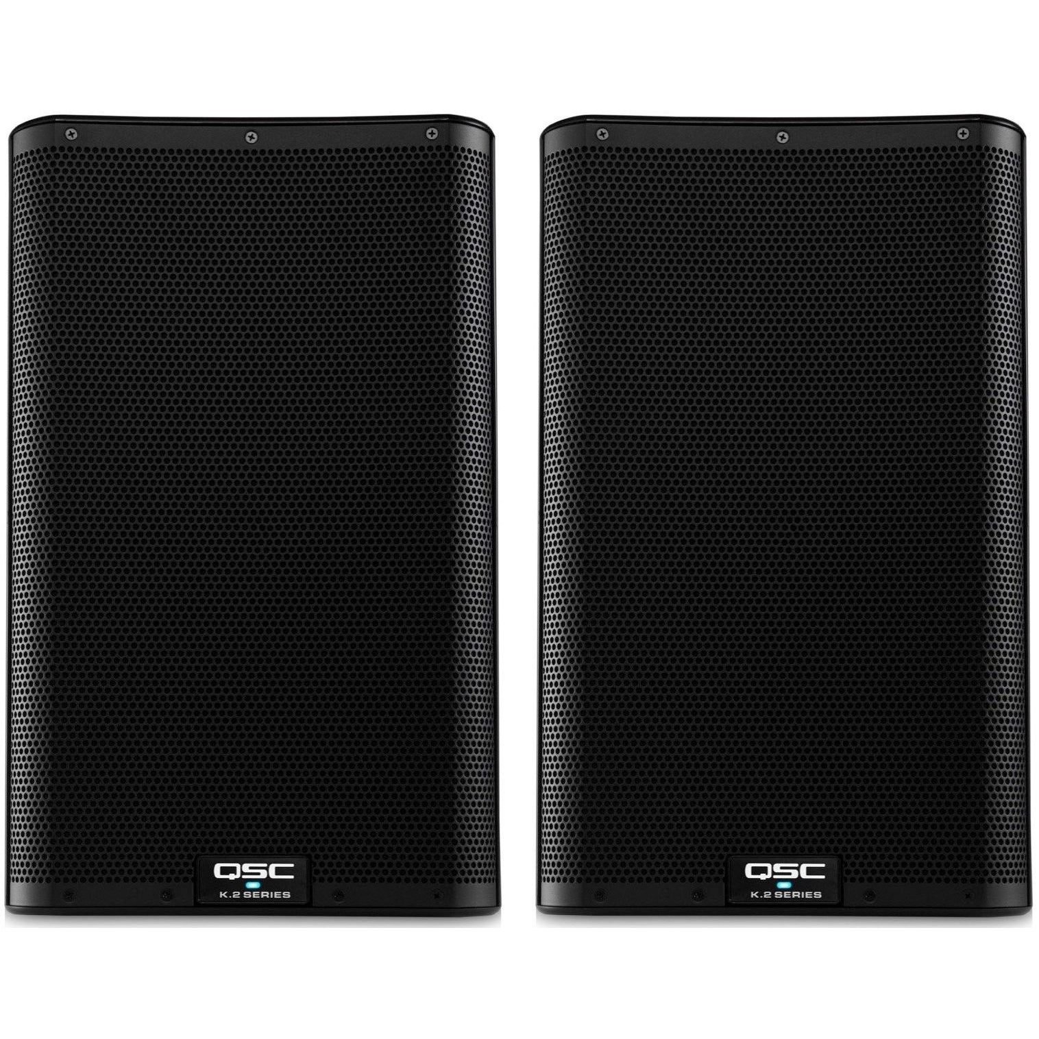 QSC K10.2 Powered Loudspeaker (2000 Watts, 1x10 Inch), Pair, with Speaker Pack