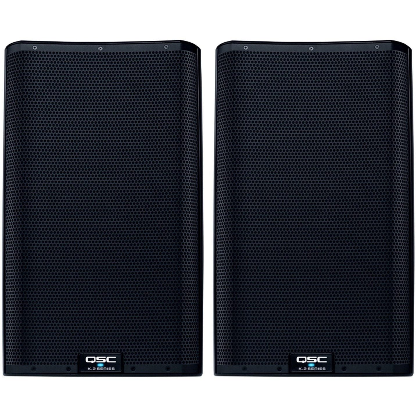 QSC K12.2 Powered Loudspeaker (2000 Watts, 1x12 Inch), Pair, with Speaker Pack