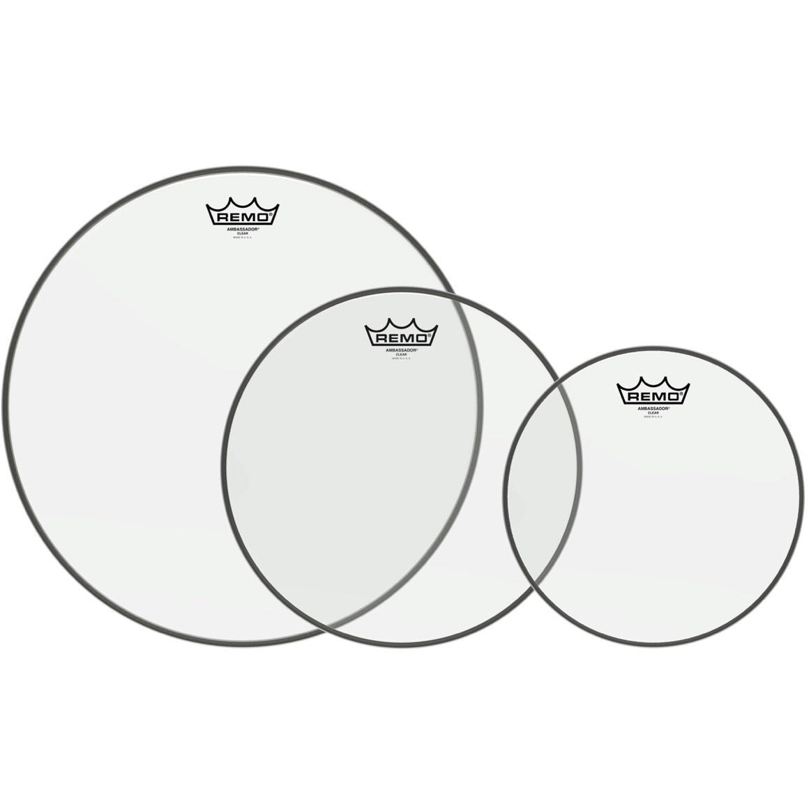 Remo Clear Ambassador Tom Drumhead Pack, Pack 3, 10, 12, and 16 Inch