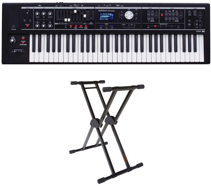 Roland VR-09 V-Combo Live Performance Keyboard, 61-Key, Matte Black, with Keyboard Stand