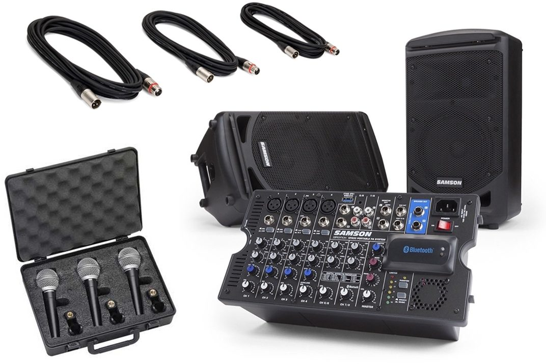 Samson Expedition XP800 Portable Bluetooth PA System (800 Watts), with Free Samson R21 Microphone and MC18 XLR Pack