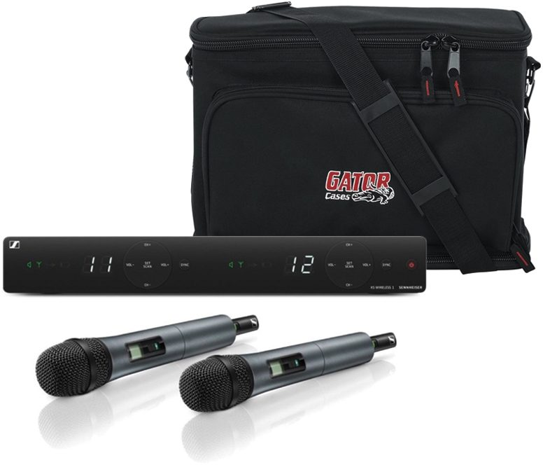 Sennheiser XSW-1 e835 Dual Vocal Wireless Microphone System, Band A (548-572 MHz) with Gator Bag