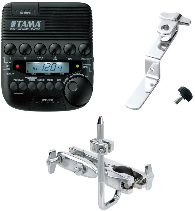 Tama RW200 Rhythm Watch Programmable Metronome, with Tama RW105/200 Clamp Arm and MC69 Attachment