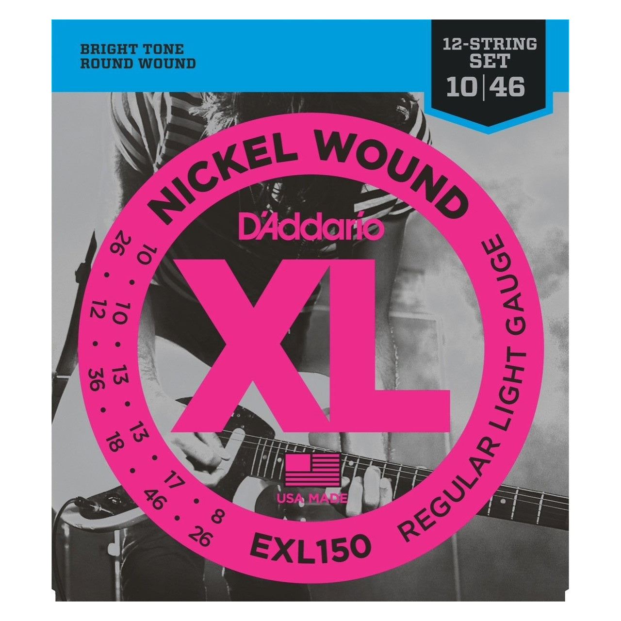 D'Addario EXL150 12-String Electric Guitar Strings (Regular Light)