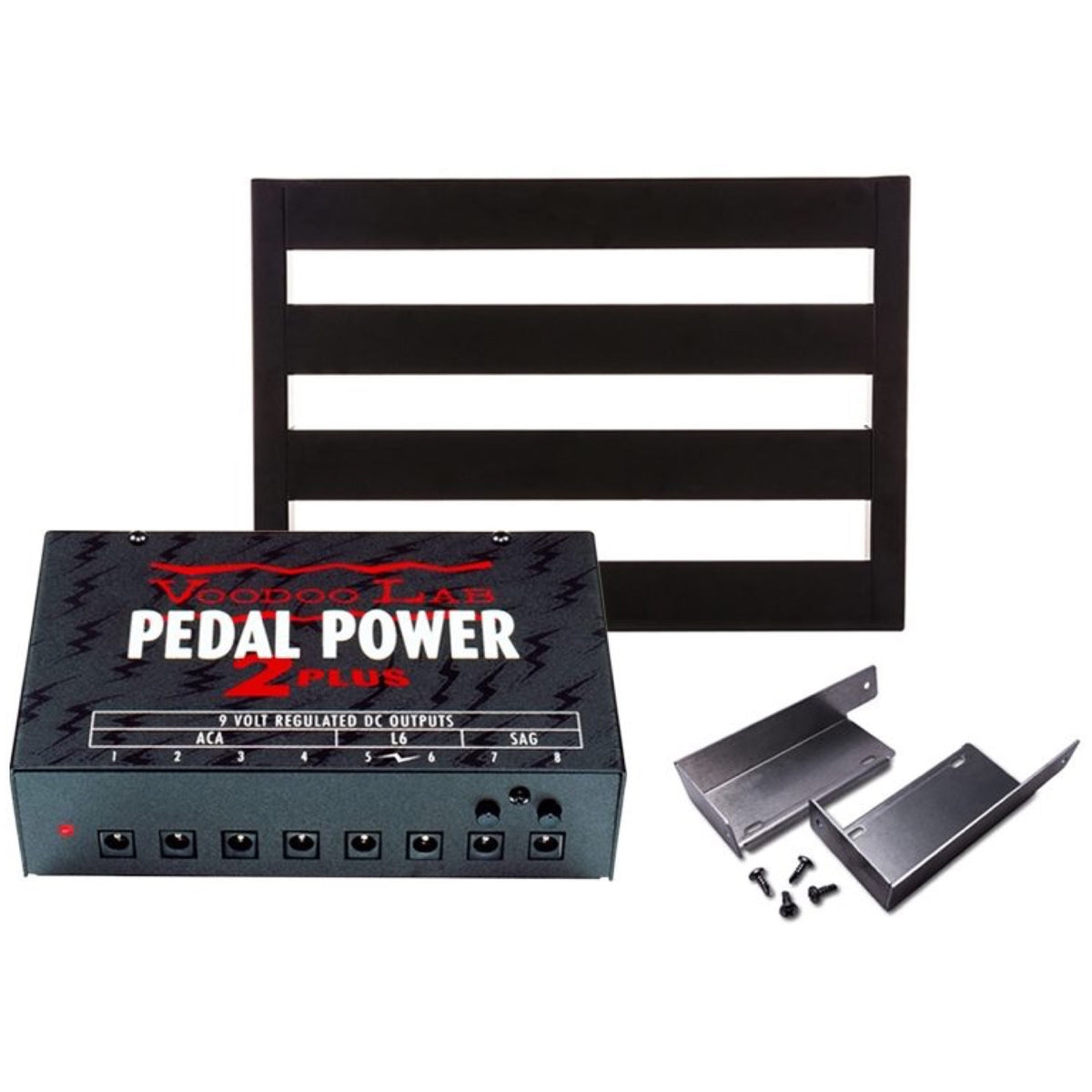 Voodoo Lab Pedal Power 2 Plus Universal Power Supply, with Pedaltrain Classic JR Pedalboard and Brackets