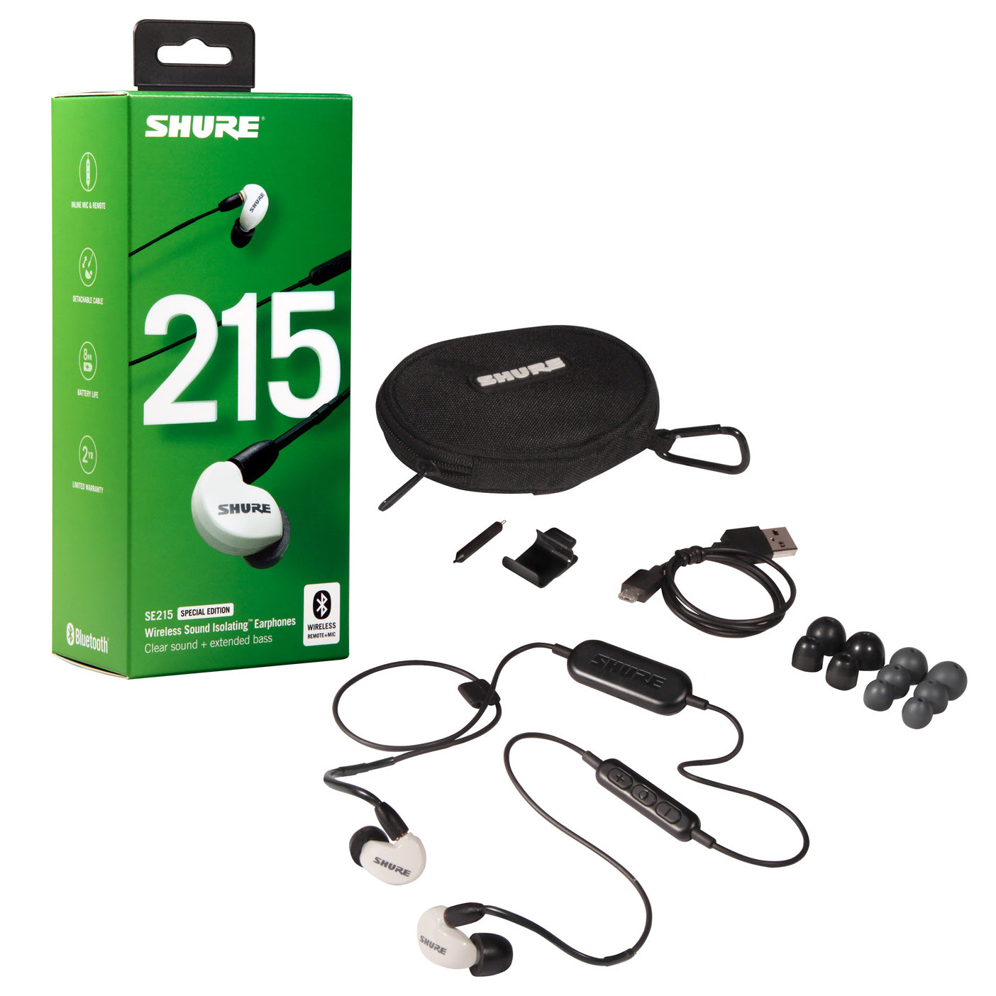 Shure SE215 Wireless Sound Isolating Earphones, White