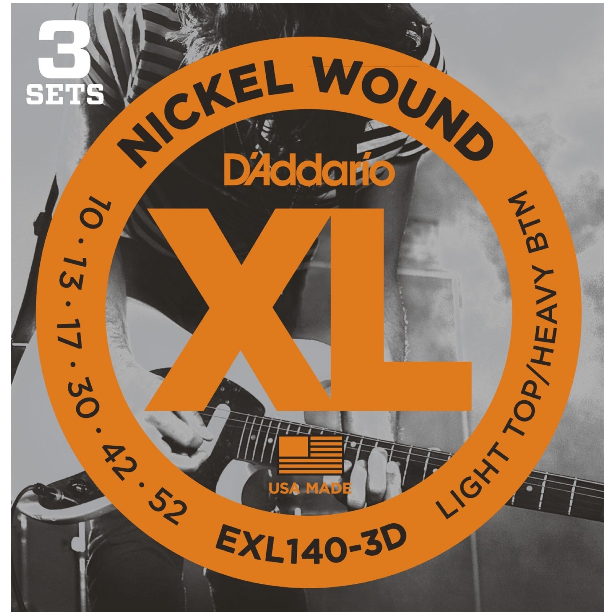 D'Addario EXL140 XL Electric Guitar Strings (Light Top/Heavy Bottom, 10-52), 3-Pack