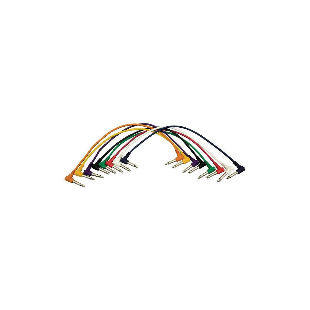Hot Wires 1/4 Inch TS Patch Cables (8-Pack), PC1817QTR, Right Angle End, 8-Pack, 17 Inch