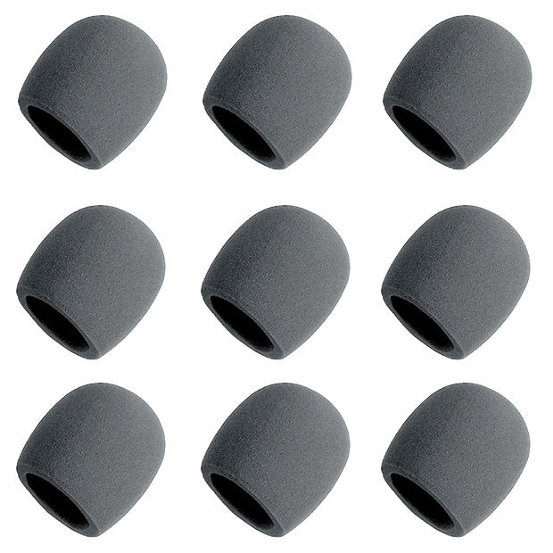 On-Stage Foam Ball-Type Microphone Windscreen, Black, 9-Pack