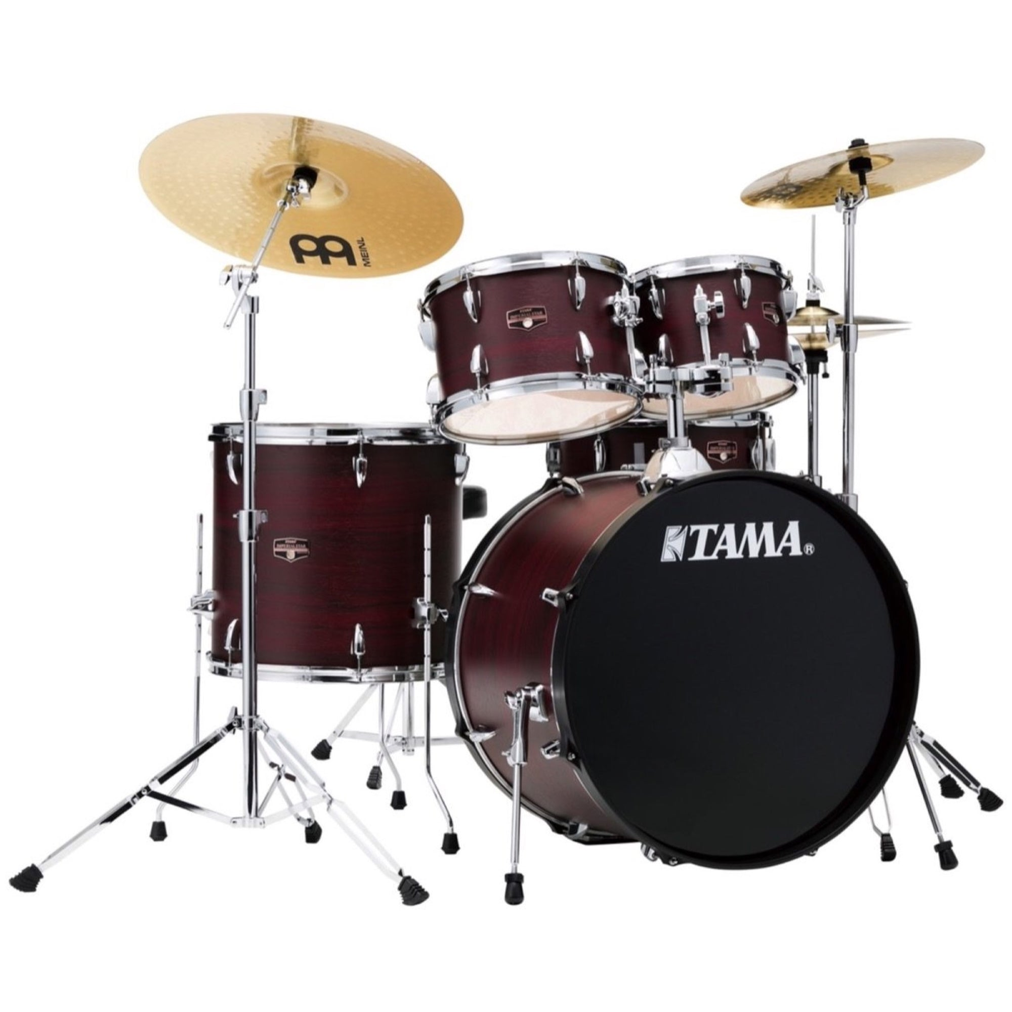Tama IE52C Imperialstar Drum Kit, 5-Piece (with Meinl Cymbals), Burgundy Walnut