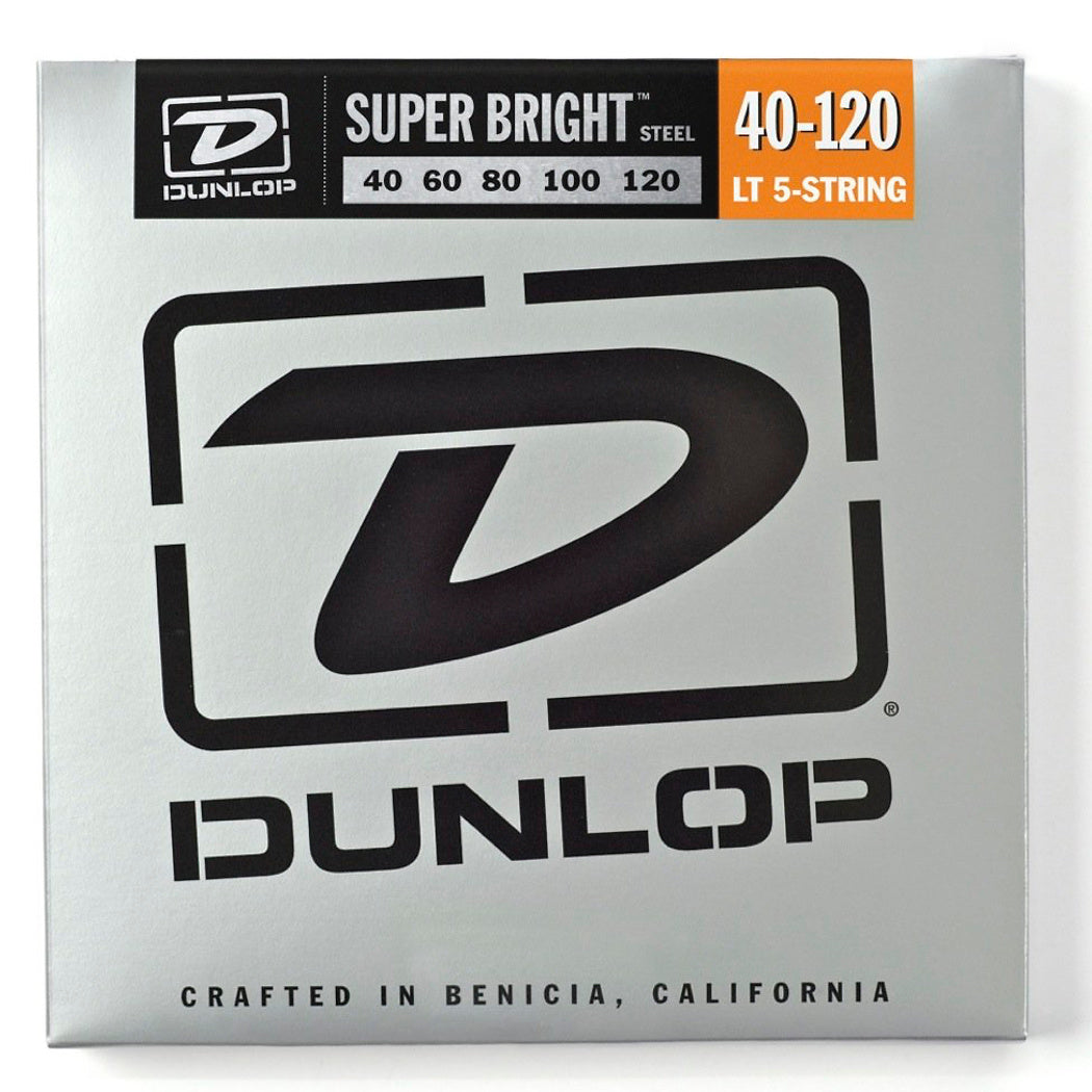 Dunlop Super Bright Steel 5-String Electric Bass Strings, Light, 40-120