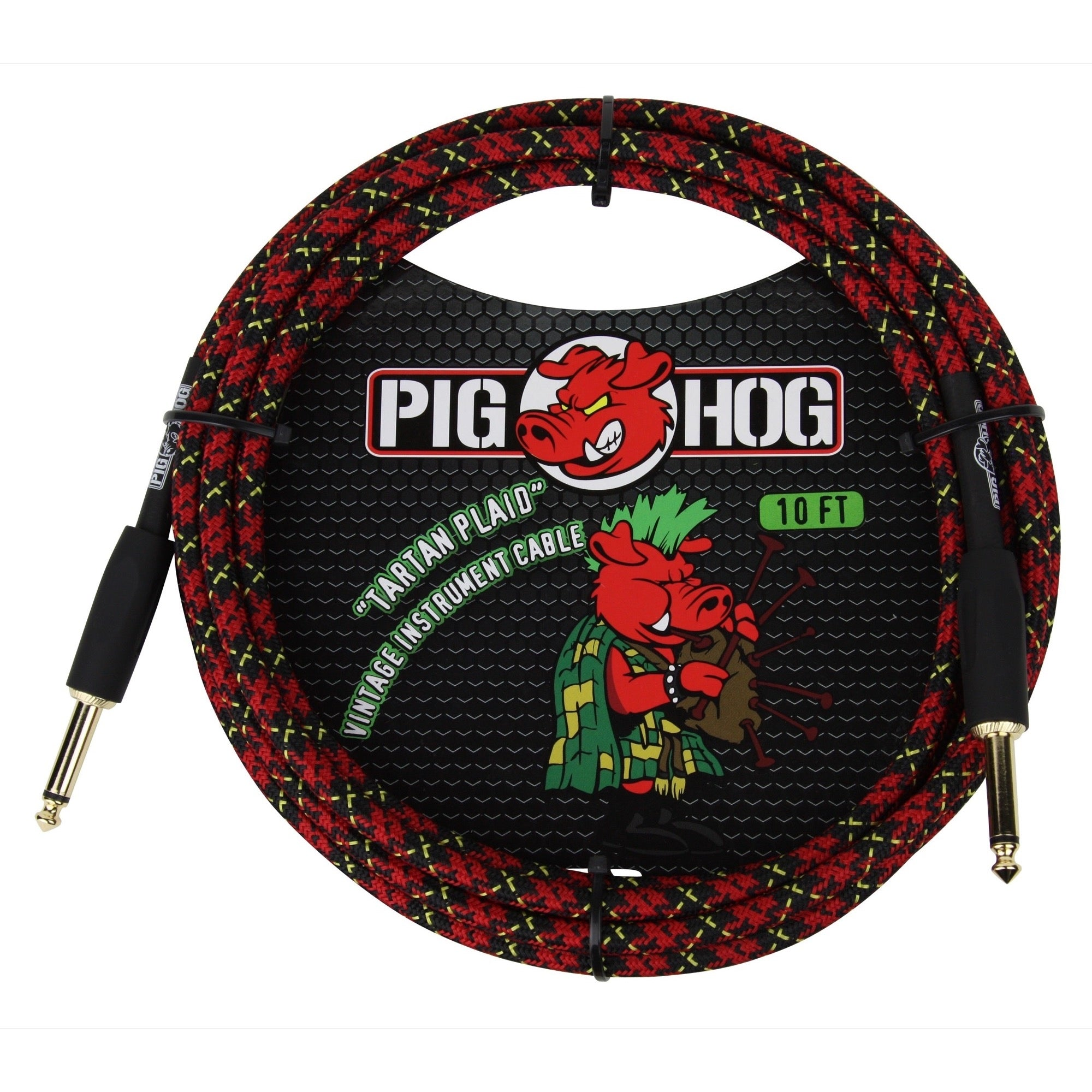 Pig Hog Vintage Series Instrument Cable, 1/4 Inch Straight to 1/4 Inch Straight, Tartan Plaid, 10 Foot