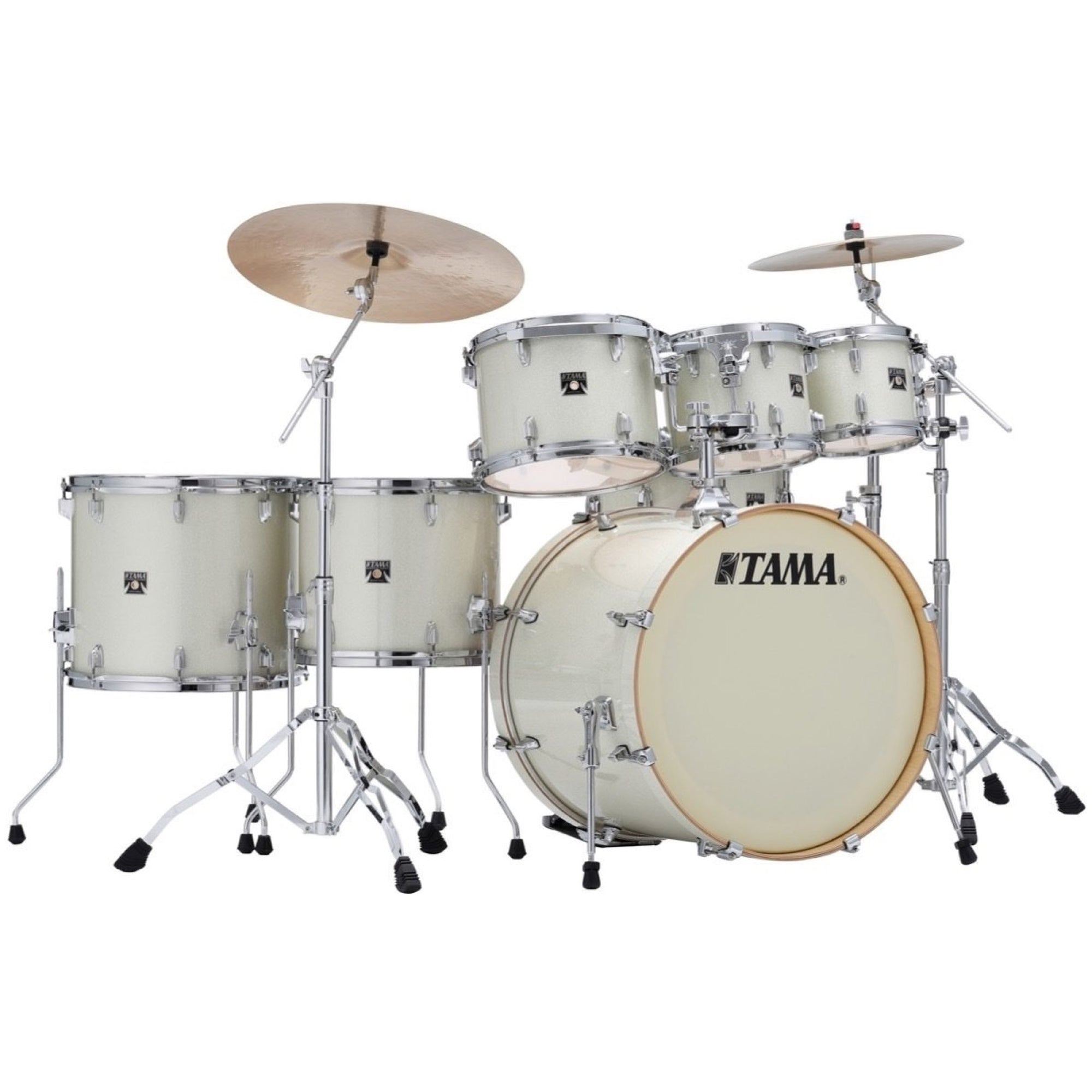 Tama CK72S Superstar Classic Drum Shell Kit, 7-Piece, Vintage White Sparkle